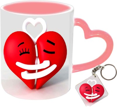 Jiya Creation1 hugging hearts keyring pink handle valentine mug Ceramic Gift Box