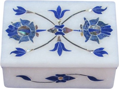 Artist Haat Handcrafted Marble With Floral Inlay Grill Work Jewellery Vanity Box
