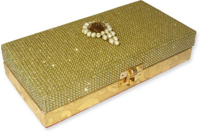 WeddingPitara Cash Golden Wooden Gift Box