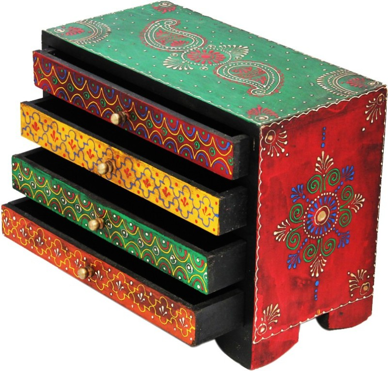 Shreeng Four drawer embossed wooden box(Pack of 1)