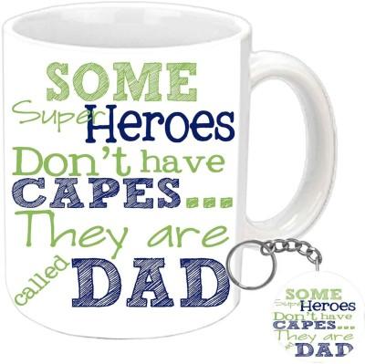 Jiya Creation1 My Dad Is MY Superhero Keychain & White Ceramic Gift Box