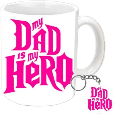 Jiya Creation1 My Dad Is My Hero Keychain & White Ceramic Gift Box