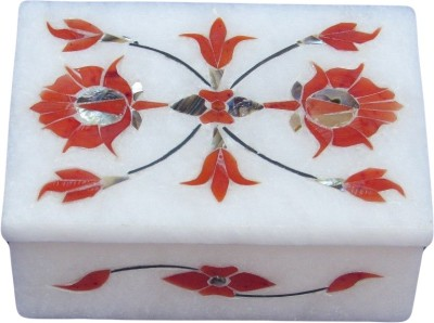 Artist Haat Handcrafted Marble With Orange Inlay Grill Work Ah80 Jewellery Vanity Box