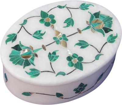 Artist Haat Handcrafted Marble With Floral Design(I) Inlay Grill Work Jewellery Vanity Box