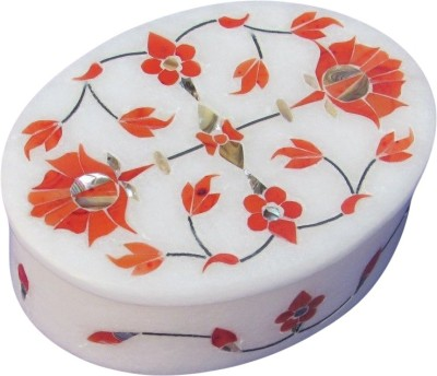 Artist Haat Handcrafted Marble With Floral Design (H) Inlay Grill Work Jewellery Vanity Box