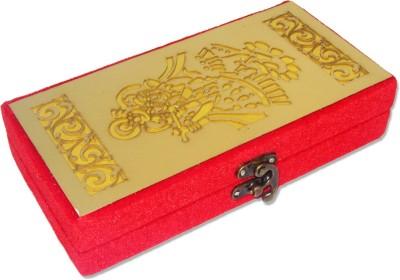 WeddingPitara Gold Red Cash Box Wooden Gift Box