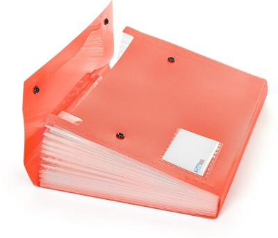 DataKing Polypropylene Expanding File With 13 Pockets With Name Card, Size A4, Color: Red, Free Delivery.