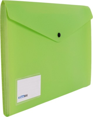 DataKing Polypropylene Expanding File With 4 Pockets & Name Card, Size FC, Color: Green, Free Delivery