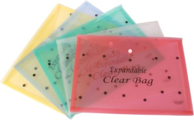DataKing Polypropylene Expandable Clear Bag With Star Print - Multi Color