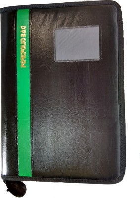 Aahum Sales Faux Leather Portfolio Document File Folder With Green Bold Line