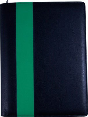 COI faux leather FAUX LEATHER BLACK AND GREEN LEATHERITE CONFERENCE FOLDER / DOCUMENT FOLDER