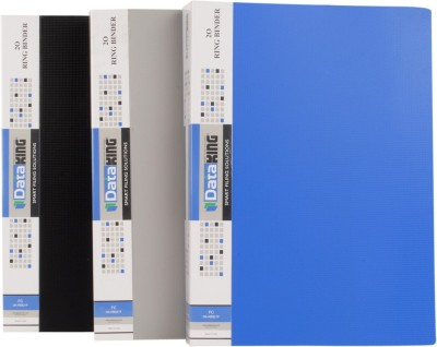 DataKing Polypropylene 2O RING BINDER, Set Of 3, Size: FC, Color: Blue.