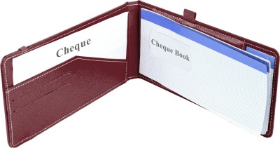Ecoleatherette Premium Paper Cheque Book Holder(Set Of 1, Cherry)