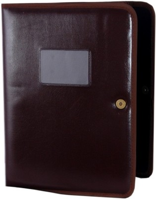 Aahum Sales Faux Leather File Folder with Magnetic Button Tan color