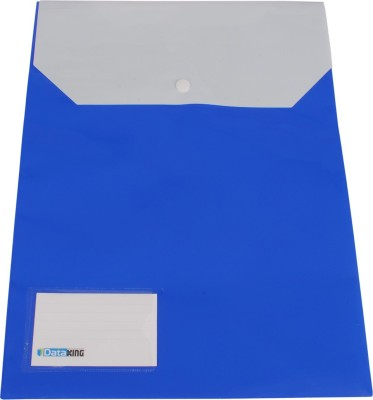 Dataking Polypropylene Double Pocket Vertical Folder With Name Card & Cross Line Embossing, Size FC, Color: Blue, Free Delivery.