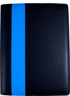 COI faux leather FAUX LEATHER BLACK AND BLUE LEATHERITE CONFERENCE FOLDER / DOCUMENT FOLDER