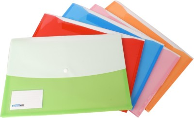 DataKing Polypropylene Double Pocket Envelope Bag Expandable With Name Card - Multi Color