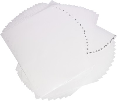 Trio ID31 PP Index Dividers 31 Daily A4(Set Of 4, White)