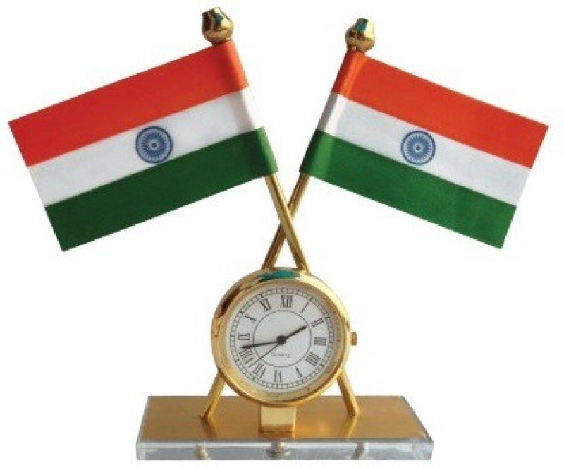 DecorMyCar India Quartz Watch Double Sided Wind Car Dashboard Flag Flag(Rayon)