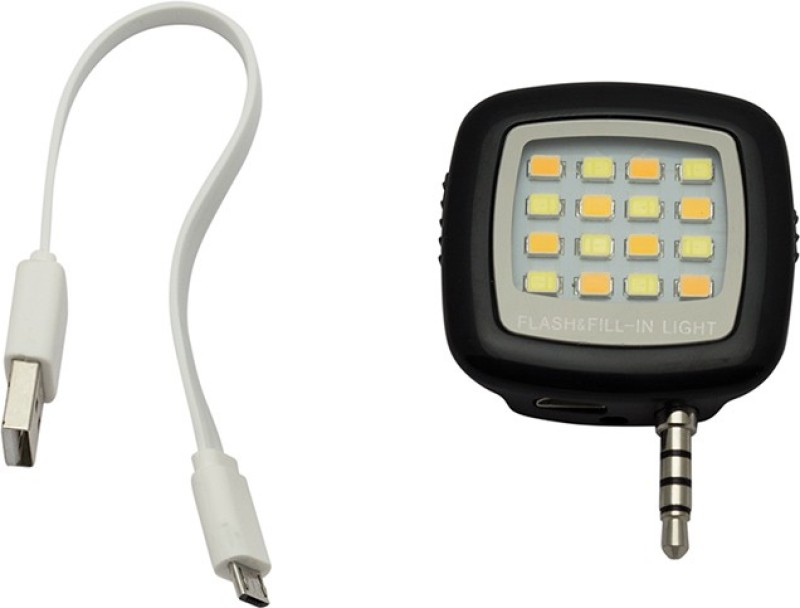 eGizmos Portable Mini 16 LED Light Rechargeable For Smartphones Flash(Black)