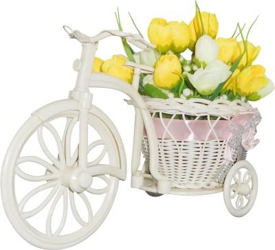 SKY TRENDS Amazing Beautiful Flower pot Cycle Plastic Flower Basket with Artificial Flower & Plant(W: 26 cm x H: 15 cm x D: 15 cm)
