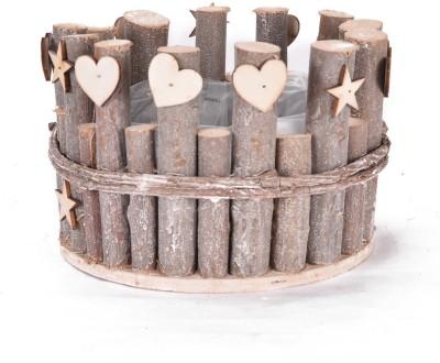 Scrafts SCPL095 Wooden Flower Basket without Artificial Flower & Plant(W: 18.5 cm x H: 14 cm x D: 12 cm)