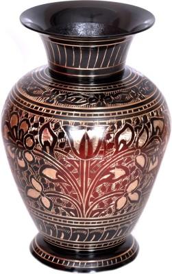 Hashcart BR-V-VASE420-01 Brass Flower Basket without Artificial Flower & Plant(W: 9 cm x H: 17 cm x D: 9 cm)