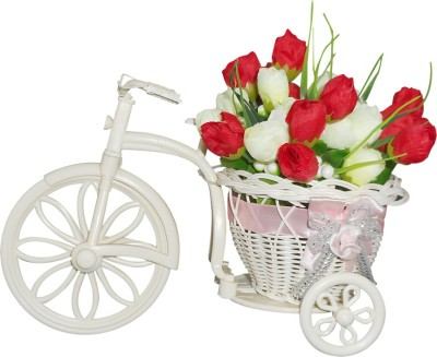 SKY TRENDS Small Size Falling in Good Artificial Flower Cycle Plastic Flower Basket with Artificial Flower & Plant(W: 26 cm x H: 15 cm x D: 15 cm)