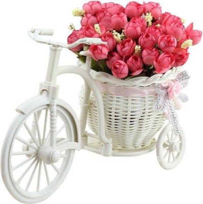 SKY TRENDS Cycle vase Red Peonies Artificial Flowers & Plant Pot Rose Gifts For Valentinetine Birthday Anniversary 004 Plastic Flower Basket with Artificial Flower & Plant(W: 26 cm x H: 15 cm x D: 15 cm)