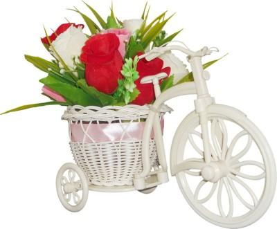 SKY TRENDS Valentine Gift Plastic Flower Basket with Artificial Flower & Plant(W: 26 cm x H: 15 cm x D: 15 cm)