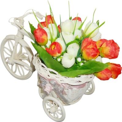 SKY TRENDS Best Beautiful Flower Cycle Plastic Flower Basket with Artificial Flower & Plant(W: 26 cm x H: 15 cm x D: 15 cm)