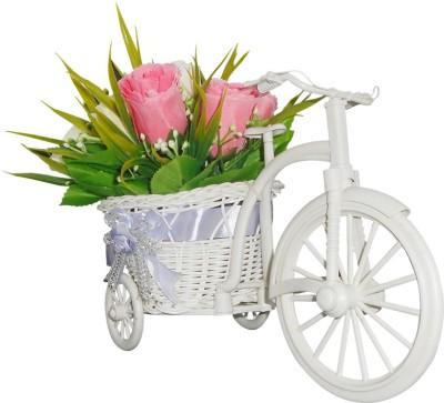 SKY TRENDS Flower Vase Pot Cycle Plastic Flower Basket with Artificial Flower & Plant(W: 26 cm x H: 15 cm x D: 15 cm)
