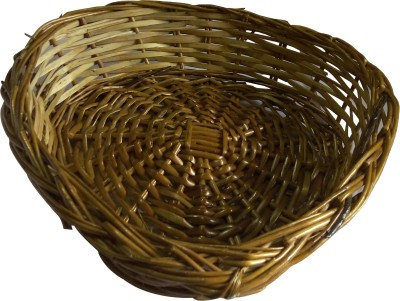 swadesibuyzzar Wooden Basket Heart Shape Cane, Wooden Flower Basket without Artificial Flower & Plant
