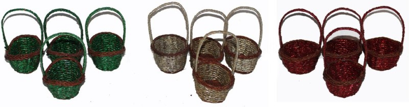 VAC VACGLITTER 001 Bamboo Flower Basket without Artificial Flower & Plant(W: 8.5 cm x H: 12.5 cm x D: 7 cm)
