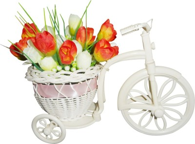 SKY TRENDS Small Beautiful Artificial Flower Plastic Flower Basket with Artificial Flower & Plant(W: 26 cm x H: 15 cm x D: 15 cm)