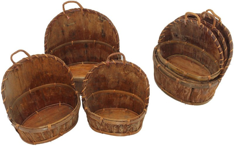VAC VACBARK BASKET OVAL 001 Bamboo Flower Basket without Artificial Flower & Plant(W: 18.5 cm x H: 26 cm x D: 24 cm)