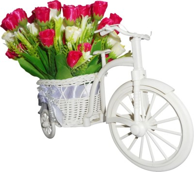 SKY TRENDS Cute Gifts For Valentine Flower Cycle Plastic Flower Basket with Artificial Flower & Plant(W: 26 cm x H: 15 cm x D: 15 cm)