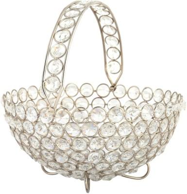 Rajrang CTH00108 Crystal Flower Basket without Artificial Flower & Plant(W: 20 cm x H: 10 cm x D: 20 cm)