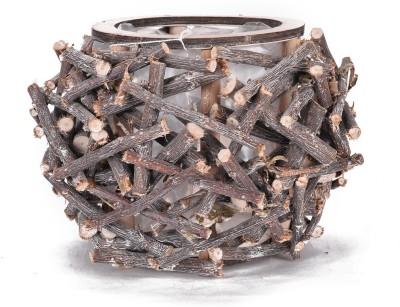 Scrafts SCPL094 Wooden Flower Basket without Artificial Flower & Plant(W: 13 cm x H: 17 cm x D: 15 cm)