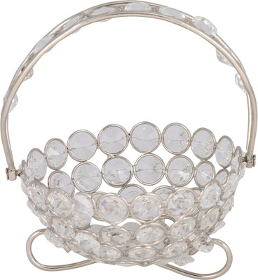 Rajrang CTH00078 Crystal Flower Basket without Artificial Flower & Plant(W: 13 cm x H: 6 cm x D: 13 cm)