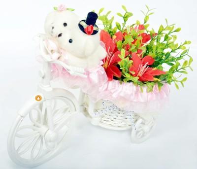 Holy Krishna HK Plastic Flower Basket with Artificial Flower & Plant(W: 5 cm x H: 5 cm x D: 5.6 cm)