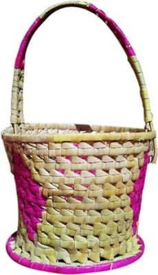 mewol p1a1l1m Rattan Flower Basket without Artificial Flower & Plant(W: 18 cm x H: 30 cm x D: 13 cm)