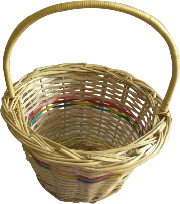 swadesibuyzzar Flower Basket Wooden, Cane, Bamboo Flower Basket without Artificial Flower & Plant