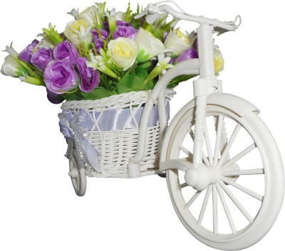 SKY TRENDS Sister Gifts For Birthday Flower Cycle Plastic Flower Basket with Artificial Flower & Plant(W: 26 cm x H: 15 cm x D: 15 cm)