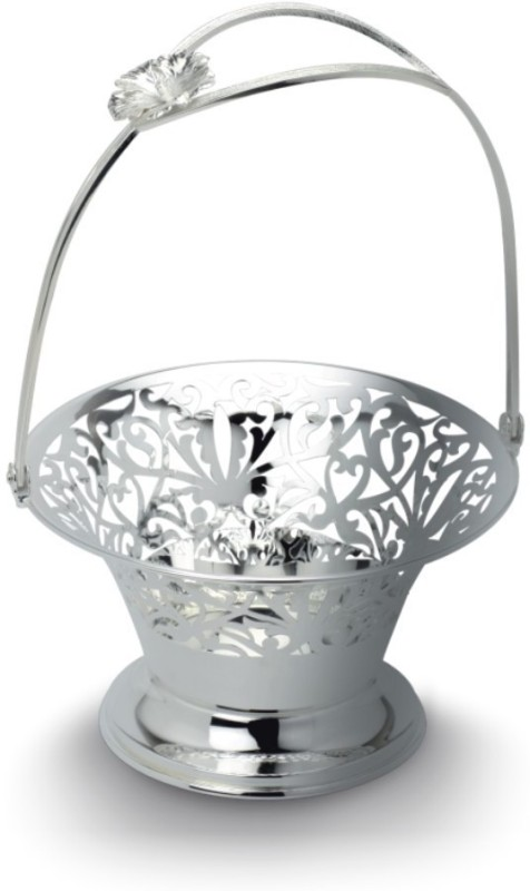 Aarya 24kt AR-BO-003M Silver Plated Flower Basket without Artificial Flower & Plant(W: 17 cm x H: 28 cm x D: 17 cm)