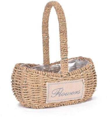 Scrafts SCPL097 Wooden Flower Basket without Artificial Flower & Plant(W: 13 cm x H: 30 cm x D: 28 cm)