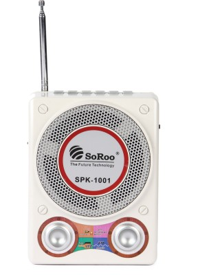 Soroo 1001 Rechargeable Multimedia With Usb/Sd Card/Aux FM Radio(White, Silver)