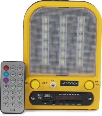 Bexton Bexton Rechargeable Magic LED with USB/AUX/TF and Remote FM Radio(Yellow)