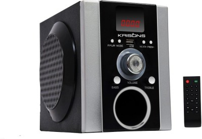 KRISONS SEMI-PORTABLE MULTIMEDIA SPEAKER WITH USB, FM AND AUX FM Radio(BLACK AND SILVER)