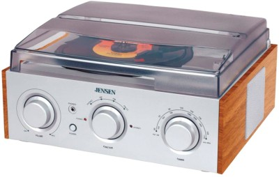 Jensen Speed Stereo Turntable with AM/FM Stereo Radio FM Radio(Silver)